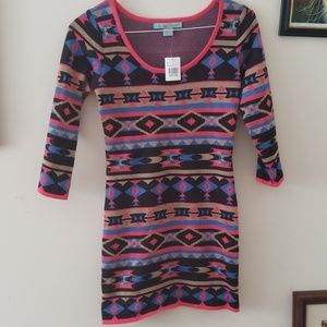NWT Flying Tomato tribal print sweater dress S